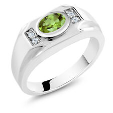 1.49 Ct Oval Green Peridot White Created Sapphire 925 Sterling Silver Men's Ring