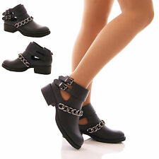 LADIES WOMENS CUT OUT CHAIN ANKLE BLACK BOOTS LOW BLOCK HEEL FLAT SHOES SIZE