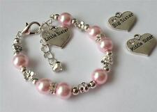 Little, middle and big sister charm bracelet personalised with any name, colour!