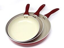 CONCORD 3 PC Ceramic Non Stick Fry Pan Set Frying Skillet Induction Cookware