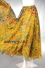 "WOMENS 100% Silk Chiffon Full Circle Maxi Long Skirts Elastic Waist 39"" S-3XL"