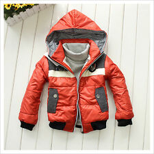 2014 Kids Boys Winter Clothes Snowsuit Badge Sign Hooded Thick Jacket Coat Lined