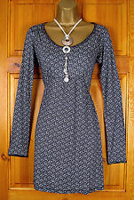NEW FAT FACE LADIES NAVY BLUE WHITE DITSY FLORAL PRINT TUNIC TOP UK SIZE 8 - 18