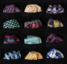 PMB Check Dot Floral Men Silk Satin Pocket Square Hanky Wedding Handkerchief