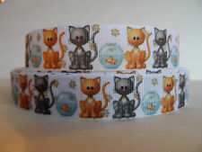 "Grosgrain Ribbon,  Kitty Cats with Fish Bowls & Paw Prints, 7/8"" Wide"