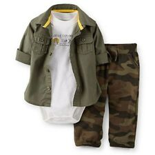 New Carter's 3 Piece Woodland Explorer Shirt Bodysuit Pant Set NWT 12m 18m 24m