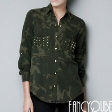 Army Rock Camouflage Gold Studs Studded Button Long Shirt Jacket Military AUSE