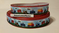 "Grosgrain Ribbon, Construction Vehicles Dump Truck Tractor Fire Truck 7/8"" Wide"