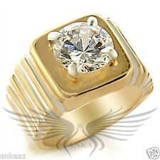 Men's Gold Plated AAA Grade Cubic Zircon CZ Ring 8 9 10 11 12 13 2w043 *