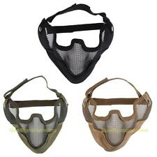 #QZO Tactical Airsoft Paintball Steel Mesh Half Face Protect Mask with Ear Cover
