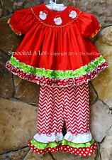 Smocked A Lot Girls Christmas Santa Claus Red Chevron Ruffled Pants Outfit Dress