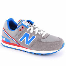 Youth New Balance Classic Traditionnel Grey Blue Trainers KL574JGG