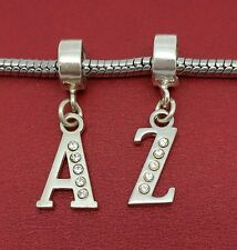 Sterling Silver Initial Letter A to Z European 925 CZ Charm slide on bead