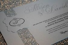 Silver Wedding Invitations with Beautiful Glitter Band and Monogram