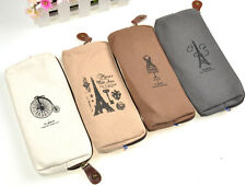 Paris Fashion Style Pencil Case Cosmetic Bag Coin Purse Pouch with Zipper New