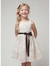 Lace Flower Girl Dress with Sash for Weddings Party Birthday Graduation Holiday