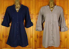 NEW FAB EVANS LADIES NAVY BLUE BROWN COTTON TUNIC SHIRT TOP BLOUSE UK SIZE 16-32