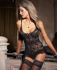 Black Stretch And Lace Bustier - Coquette 3393