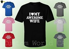 Husband and Wife Shirt - I Love my Awesome Wife Couple tee - His and Hers Wife