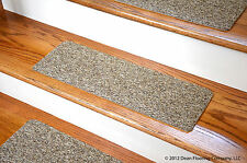 Dean Non-Skid DIY Peel & Stick Carpet Stair Treads - Color: Beige & Brown Tweed