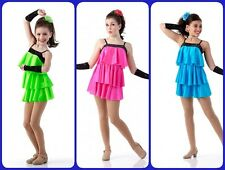COVER GIRLS Tap Dress Ice Skating Dance Costume Turq/Green/Pink Child & Adult Sz