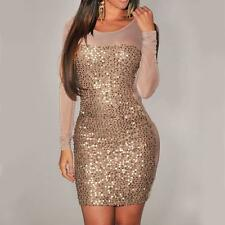 PD11 -1X 2X 3X Plus Size Long Sleeves Sequins Bodycon Mesh Panel Club Dress Tan