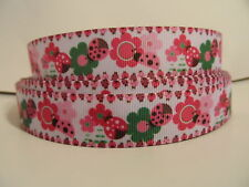 """Grosgrain Ribbon, Hot Pink & Green Daisy Flowers with Lady Bugs Border, 7/8"""""""