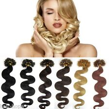 20Inch Pre Bonded Nail U Kertain Tip Real Remy Human Hair Extensions Body Wavy