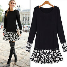 Womens Celeb Style Black Lace Long Sleeve Ladies Party Evening Skater Dress