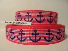 Grosgrain Ribbon, Large Navy Blue Anchors on Pink & White Striped, Nautical 7/8""