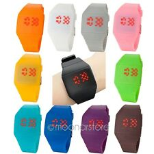 MENS WOMENS FASHION DIGITAL DISPLAY RED LED TOUCH SCREEN SILICONE WRISTWATCH 11C