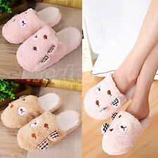 New Cute Women Lady Bear Velvet Anti slip Slippers Indoor House Soft Warm