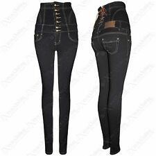 NEW LADIES HIGH WAISTED CORSET BACK SKINNY FIT JEANS WOMENS DENIM BLUE SLIM FIT