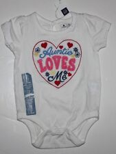 """baby Gap NWT Girl's 0 3 6 12 Mo. Embroidered Aunt Bodysuit Top """"Auntie Loves Me"""""""