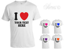 I HEART PERSONALISED CUSTOM  YOUR TEXT UNISEX MENS WOMENS TSHIRT T SHIRT D2