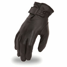 Men's Mid-Weight Insulated Lined Touring Black Leather Motorcycle Riding Gloves