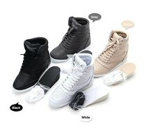 Women Hidden Heel 7.5cm High Top Sneakers Tennis Shoes Ankle Boots Faux Leather