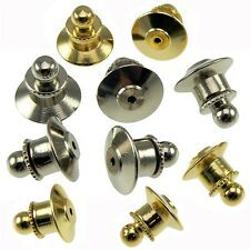 10 Locking Ball Top Tie Tac Pin Backs Clutch Clasp Fastener Gold Chrome Police