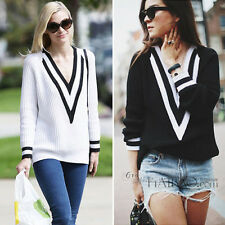 Women Lady V Neck Long Sleeve Knitted Pullover Jumper Loose Sweater Knitwear Top