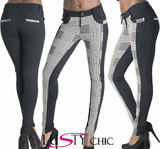 Ladies Womens White Black Pattern Front Sexy Leggings Pants Trousers Size 6-20