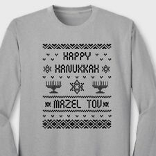 Happy Hanukkah Mazel Tov T-shirt Funny Jewish Ugly Sweater Long Sleeve Tee