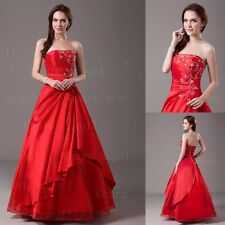 A-line Red Long Taffeta Strapless Embroidery Prom Dresses Engagement Ball Gown