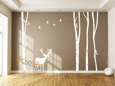 "Wall Decor Decal Sticker large birch tree trunk forest 4 trees with Deer 96""H"