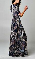 CHELSEA VERDE'S SHIFTING SEASONS French Navy Paisley Wrap Maxi Dress S-M-L