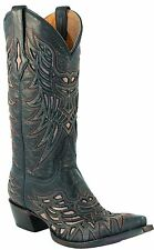 Lucchese M3414 Mens Black Crackle Calf Inlayed Leather Western Cowboy Boots