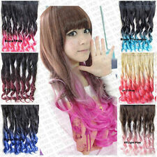 Chic Ombre Synthetic Single Piece Five Clips Long In Curly Wave Hair Extension