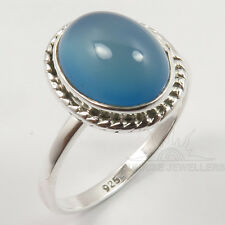 925 Solid Sterling Silver BLUE CHALCEDONY Gemstone Handmade Ring Choose Any Size