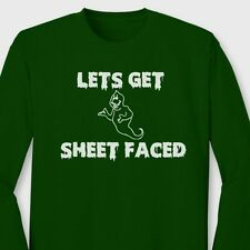 LETS GET SHEET FACED Halloween Ghost T-shirt Beer Party Long Sleeve Tee