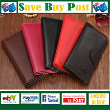 Long Evening Ladies Wallet Genuine Leather 24 Card Slot Photo Pocket Snap Button