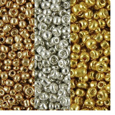 Metallic coated Glass Seed Beads 40g Gold - Silver - Copper/bronze